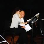 Catherine Wilson with Skitch Henderson in rehearsal at Massey Hall, Toronto, for the live recording of Leroy Anderson's Piano Concerto with the Toronto Symphony Orchestra