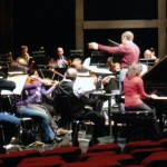 Catherine Wilson, solo piano, in rehearsal with the Hamilton Philharmonic Orchestra with conductor Michael Reason at Hamilton Place, Hamilton, Ontario