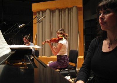 Glenn Gould Studio in Toronto recording the Piano Sextet version of John Burke's MYSTERIUM for piano, violin1, violin2, viola, cello, bass (R to L: Catherine Wilson, piano; Erica Beston, violin1; Norman Hathaway, violin 2.